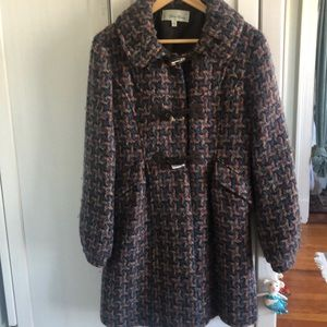 BETH BOWLEY Wool Blend-Toggle Coat size 12